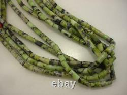 KEWA Santo Domingo Beaded 5-Strand Necklace Green Serpentine Turquoise Red Coral