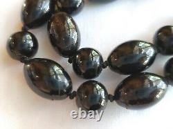 Large 30 Vintage Hawaiian Black Coral Round/Oval Bead Branch Pendant Necklace