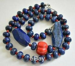 Large Carved Red Coral Pumpkin Lapis Lazuli Bead 27 Vintage Statement Necklace