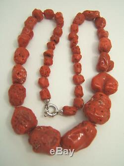 Large Natural Red Mediteranean Coral Baroque Beads 18k White Gold Clasp Necklace