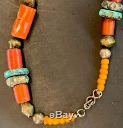 Large Old ANTIQUE TIBETAN TURQUOISE SILVER Red CORAL Prayer Bead NECKLACE Choker