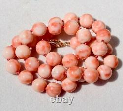 Large Rich Pink Coral Beaded Necklace 19 Inches 78.8 grams Fancy 14K Gold Clasp