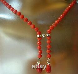 Lovely Solid 14KT Gold Natural Italian Coral Necklace, Hand Knotted, 18.75