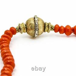 Mario Buccellati Graduated Coral Bead Necklace in 18k Yellow Gold