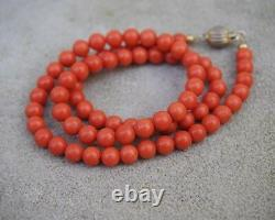 Mediterranean Coral Beads 6.5 mm Necklace Sterling Vermeil Clasp 18 inches 26.3g