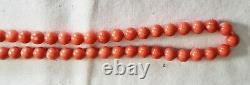 Mediterranean Red Orange Coral 6.5mm Beads 17 Strand Necklace Natural Undyed