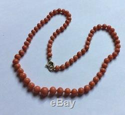 Mediterranean Salmon Red Natural Coral Beads 9ct 9k Gold Clasp Necklace 18.9g