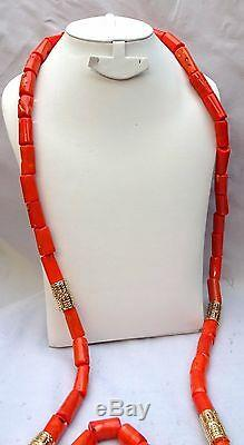 Men Traditional Long Coral African Nigerian Beads Necklace Bracelet Jewellery