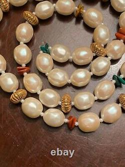 Miriam Haskell Signed Pearl & Coral Amber Glass Bead Necklace Vintage