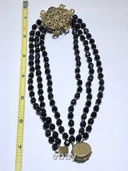 Miriam Haskell Vintage Faceted Crystal Filigree flower beaded necklace