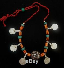 Morocco Splendid Berber necklace, Taguemout bead, genuine coral beads, amazoni