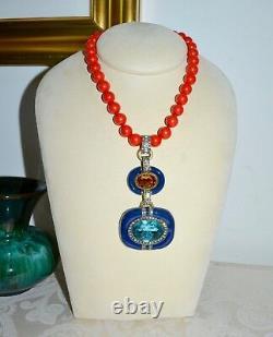 NIB $210 HEIDI DAUS Super Chic Set Beaded Crystal Enamel Necklace Earrings Coral
