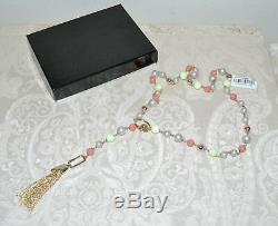 NWT $255 Alexis Bittar BEADED LARIAT Tassel Necklace Coral Chrysoprase Pearl