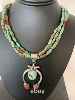 Native Am Navajo Royston TURQUOISE CORAL Sterling Silver 3S Necklace Pendant3112