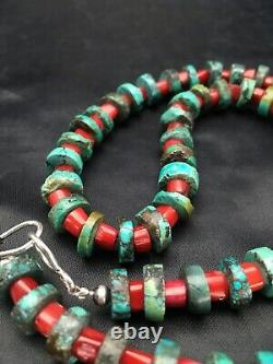 Native American 10 mm Turquoise Heishi, Bamboo Coral Sterling Silver Necklace