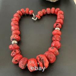 Native American Navajo Graduated Red CORAL Sterling Silver Bead 20Necklace01853