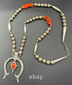 Native American Navajo Sterling Silver & Coral Beaded Necklace With Naja