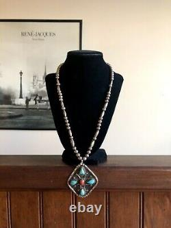 Native American Sterling Silver Bench Beads Turquoise Coral Pendant Necklace 925