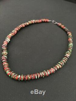 Native American Sterling Silver Turquoise Coral Bead Mens Necklace 19 1103