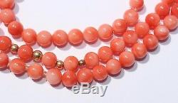 Natural Angel Skin Pink Coral Solid 14k Yellow Gold Beaded Necklace 18 Long