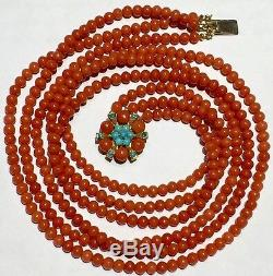 Natural NO dye RED coral beads turquoise 9k gold necklace