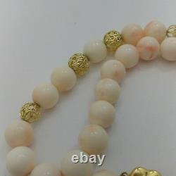 Natural Pink coral authentic necklace 11mm beads and gold 18k 83.7 grams