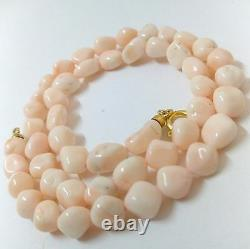 Natural Pink coral barroque beads necklace gold plated silver 8mm