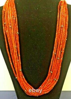 Natural Red Coral Beads 11 Rows 24 Inches Each Necklace App. 800 Ct