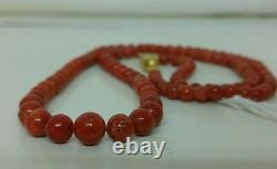 Natural Red Coral decrease beads necklace, authentic italian coral