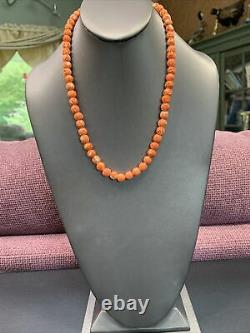 Natural Salmon Red Mediterranean Rough Coral Beaded Necklace 20