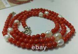 Natural italian Red Coral necklace 4.6 mm beads, pearls, sterling silver clasp