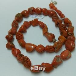 Natural red coral Mediterranean Necklace barroque bead 10mm sterling silver