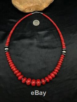 Navajo American GRADUATED Apple Sponge Coral Bead Sterling Silver Necklace 3262