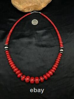 Navajo American GRADUATED Apple Sponge Coral Bead Sterling Silver Necklace 4558
