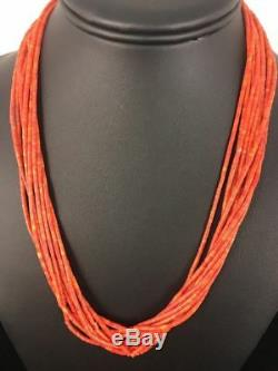 Navajo Apple Coral 10 Strand Sterling Silver Tube Heishi Bead Necklace 19 G417
