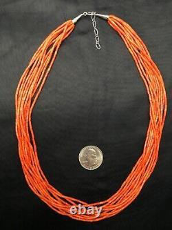 Navajo Apple Sponge Coral 10S Sterling Silver Tube Heishi Bead Necklace 20 3713