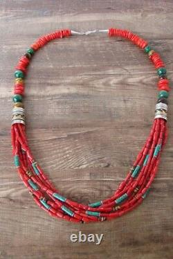 Navajo Indian Sterling Silver Coral and Turquoise Gemstone Beaded Necklace T&
