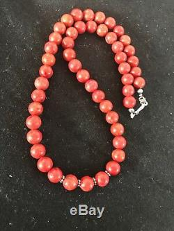 Navajo Native American Apple Coral Bead Sterling Silver Bead Necklace Gift 1240