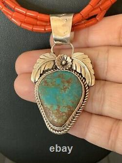 Navajo Native Indian Sterling Silver Coral Turquoise Bead Necklace Pendant 370