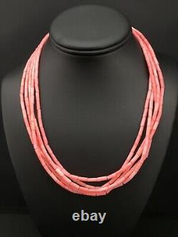 Navajo Pink Coral 5S Sterling Silver Tube Heishi Bead Necklace 19 1102