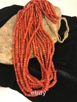 Navajo Vintage Authentic Coral 9 Strand Graduated Necklace Gift 30 Old Pawn