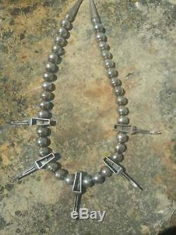 Navajo Vintage Sterling 5 Claws BIG Bench Beads Cones Native American Necklace