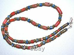 Necklace Of Antique Red Coral & Rare Scorzalite Stone Beads, African Metal Beads
