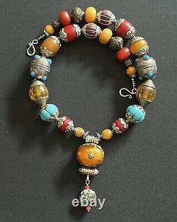 Nepalese vintage Handmade Amber Pendant & Capped Tibetan Nepal Beads Necklace