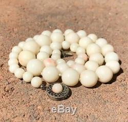 Old Chinese Carved Angel Skin Coral 6mm 11 mm Bead Graduated Necklace 17.5