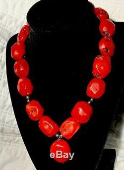 Old Heavy 187G Antique Natural Red Coral Beads 18 Choker Necklace 925 Sterling