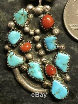 Old Pawn Navajo Sterling Silver Bench Bead Turquoise Coral Pendant Necklace 925