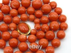 Old Real Antique Natural Dark Red Momo Coral Necklace Chain beads 18K Collection