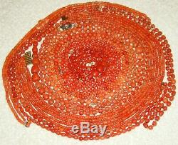 Old Real Antique Natural Red Orange Salmon Coral necklace Beads Chain Whole Sale