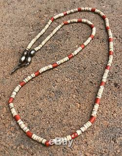 Old Santo Domingo Kewa Mediterranean Coral Heishi Bead Sterling Necklace 28